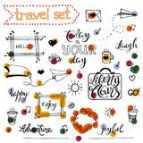 Vector hand drawn sketch set on chalk of planning. Vector hand drawn sketch set on chalk background of planning elements with white outline: arrow, banner, word Royalty Free Stock Photos