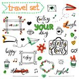 Vector hand drawn sketch set on chalk of planning. Vector hand drawn sketch set on chalk background of planning elements with white outline: arrow, banner, word Stock Images