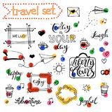 Vector hand drawn sketch set on chalk of planning. Vector hand drawn sketch set on chalk background of planning elements with white outline: arrow, banner, word Stock Photos