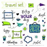Vector hand drawn sketch set on chalk of planning. Vector hand drawn sketch set on chalk background of planning elements with white outline: arrow, banner, word Royalty Free Stock Images