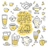 Vector Hand drawn sketch of tea pattern illustration on white background vector illustration