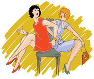 Vector hand drawn sketch - Two girls arguing over a chair. Royalty Free Stock Photography
