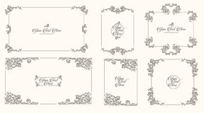 Vector Hand drawn sketch of vintage frames illustration on white background royalty free illustration