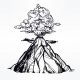 Vector hand drawn sketch of the volcano. Stock Images