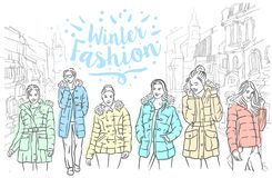 Vector Hand drawn sketch of winter jackets illustration on white background royalty free illustration