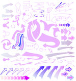 Vector hand drawn  sketchy arrows icons set. Vector hand drawn sketchy arrows icons set.  Pink, purple and blue pointers  on white background Stock Photo