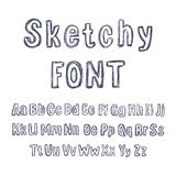 Vector Hand Drawn Sketchy Font, Isolated Pencil Drawings, Letters Set. royalty free illustration
