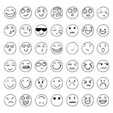Vector Hand Drawn Smiley Faces Set, Black Outline Drawings Isolated. Vector Hand Drawn Smiley Faces Set, Black Outline Drawings Isolated on White Background vector illustration
