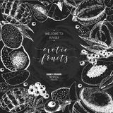 Vector hand drawn smoothie bowls poster. Exotic chalkboard style engraved fruits. Round border composition. Banana. Vector hand drawn smoothie bowls poster Stock Images