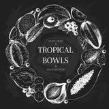Vector hand drawn smoothie bowls poster. Exotic chalkboard style engraved fruits. Round border composition. Banana. Mango, papaya, pitaya, acai, lycgee, fig Royalty Free Stock Images