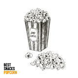 Vector hand drawn snack and junk food Illustration. Pop corn. Vintage style sketch background Royalty Free Stock Photo