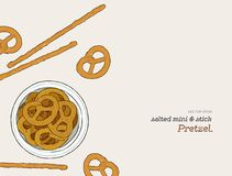 Vector hand drawn snack , pretzel  Illustration. Vintage style   Royalty Free Stock Photos