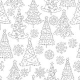 Vector hand drawn snowflakes, Christmas tree illustration for adult coloring book. Freehand sketch for adult anti stress Royalty Free Stock Images