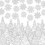 Vector hand drawn snowflakes, Christmas tree illustration for adult coloring book. Freehand sketch for adult anti stress Royalty Free Stock Photos