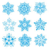 Vector hand-drawn snowflakes silhouettes isolated Royalty Free Stock Photography