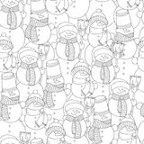 Vector hand drawn snowman illustration for adult coloring book. Freehand sketch for adult anti stress coloring book page Stock Image