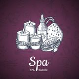 Vector hand drawn spa elements background with place for text illustration. Sketch bottle fragrance for woman therapy Stock Photos
