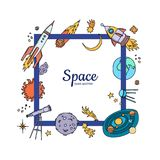 Vector hand drawn space elements flying royalty free illustration
