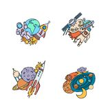 Vector hand drawn space elements planet, rocket royalty free illustration