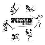 Vector hand drawn sportsmen sketch set Royalty Free Stock Photography