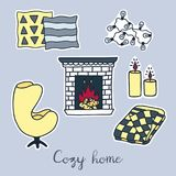 Vector hand drawn stickers set of Hygge elements. Cozy home interior details Stock Images