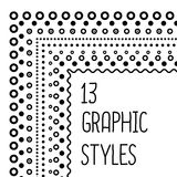 13 vector hand drawn strokes style. Can be used for frames, borders and design elements. Vector  illustration. Graphic styles are included in eps Stock Photo