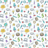 Vector hand drawn study accessories seamless Stock Images