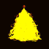 Vector hand drawn style illustration. Roughed yellow Christmas t Royalty Free Stock Image