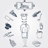 Vector hand-drawn stylish chef with dishes and Royalty Free Stock Images