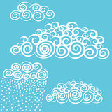 Vector hand-drawn stylize cute curly clouds. Stock Photos