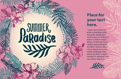 Vector hand drawn Summer time quote lettering illustration with tropical elements royalty free illustration