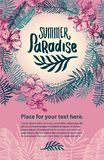 Vector hand drawn Summer time quote lettering illustration with tropical elements stock illustration