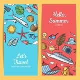 Vector hand drawn summer travel elements banners illustration vector illustration
