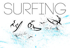 Vector hand drawn surfing athletes. Royalty Free Stock Photo