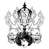 Vector hand drawn surreal illustration of melting hands, woman face, devil, vintage lantern. Tattoo artwork. Template for card, poster, banner, print for t royalty free illustration
