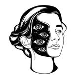Vector hand drawn surrealistic  illustration of pretty girl . Tattoo artwork.  Template for card, poster, banner, print for t-shirt, badge and pin Stock Photos