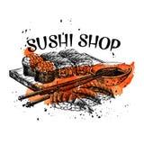 Sushi bar munu. Vector hand drawn sushi set. Japanese food sketch illustration for sushi rolls bar menu, banner, flyer, card and etc Stock Image