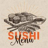 Sushi bar menu. Vector hand drawn sushi set. Japanese food sketch illustration for sushi rolls bar menu, banner, flyer, card and etc Royalty Free Stock Photography