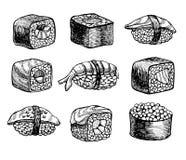 Vector hand drawn sushi set. Vintage sketch illustration. Stock Image