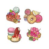 Vector hand drawn sweets piles set stock illustration