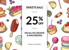 Vector hand drawn sweets sale background template. Banner and poster illustration Stock Photos