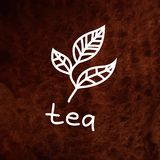 Vector hand drawn tea leaves on brown textured royalty free illustration
