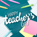 Vector hand drawn teachers day lettering greetings label - happy teachers day - with realistic paper pages, pencils and Royalty Free Stock Images