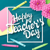 Vector hand drawn teachers day lettering greetings label - happy teachers day - with realistic paper pages, pencils. And stickers on chalkboard background. Can stock illustration