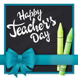 Vector hand drawn teachers day lettering greetings label - happy teachers day- with realistic ribbon and pencils on chalkboard bac. Kground. Can be used as Royalty Free Illustration