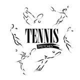 Vector hand drawn tennis athletes. Stock Image