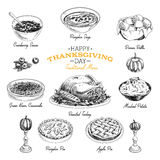 Vector hand drawn Thanksgiving food set Stock Images