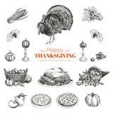 Vector hand drawn Thanksgiving set Stock Photos