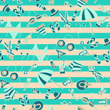 Vector hand drawn travel seamless pattern. Retro style Royalty Free Stock Image
