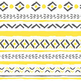 Vector hand drawn tribal boho pattern. Seamless geometric background with grunge texture. EPS8 vector illustration Stock Photos